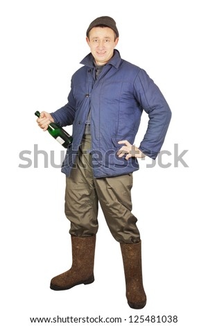 Drunk man with a bottle of alcohol