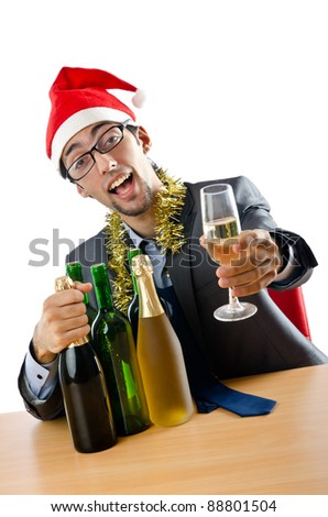 Drunk office worker after christmas party