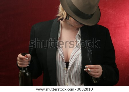 drunk woman with wine bottle and cigarette