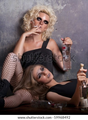 drunk women with cigarette