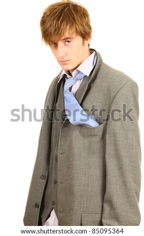drunk young; businessman in grey suit with blue necktie