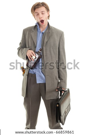 drunk young  businessman in grey suit with briefcase