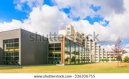 DRUSKININKAI, LITHUANIA - JULY 12, 2015: The complex of the sanatorium Egles+ in Druskininkai, Lithuania. Egles is treatment and rehabilitation center with therapeutic mud and mineral water pump room