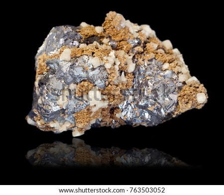 Druza of large crystals of galena, with crystals of calcite and siderite #763503052