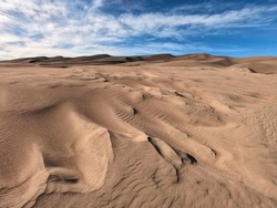 Dry and Desolate Landscape of Desert Sand at Great Sand Dunes National Park in Colorado