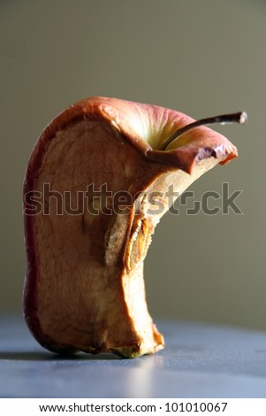 Dry apple. Dried apple. Old apple fruit.