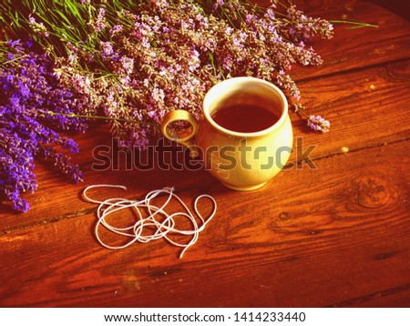 Dry aromatic lavender bunch. Bunches of medicinal herbs. Herbal medicine #1414233440