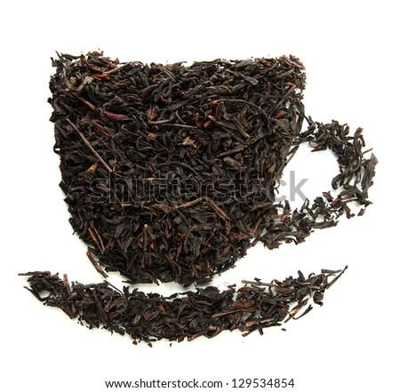 Dry black tea, isolated on white