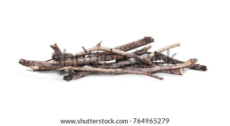 Dry branches, pile for fire isolated on white background
