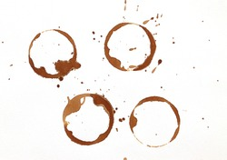 Dry brown coffee cup rings isolated on a white background ,Top view