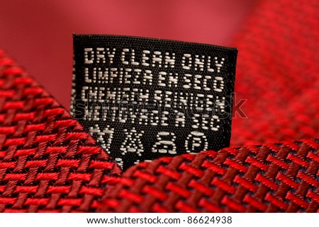 Dry clean care instructions - stock photo