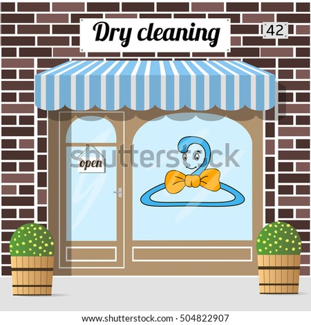 Dry cleaning service. Brown brick facade building.  illustration.