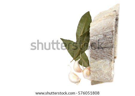 dry cod fish on white background