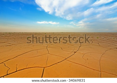 Dry crack field under blue sky