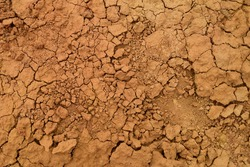 Dry cracked dirt texture background. Red clay desert. Illustration for news about soil erosion