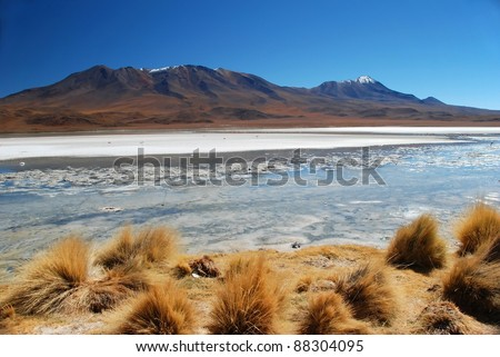 Dry Desert landscape with lake in Bolivia
