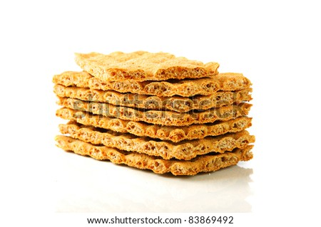 Dry diet crisp breads on the white
