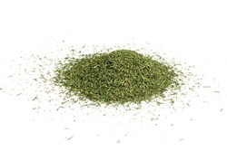 Dry dill pile isolated. Dried fennel, crushed seasoning heap, dill weed powder, green ground dehydrated dillweed on white background top view