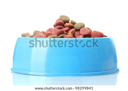 dry dog food in blue bowl  isolated on white