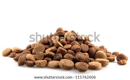 dry dog food isolated on white.