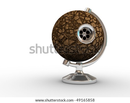 Dry Earth globe with bathtub global warming concept - 3d render illustration