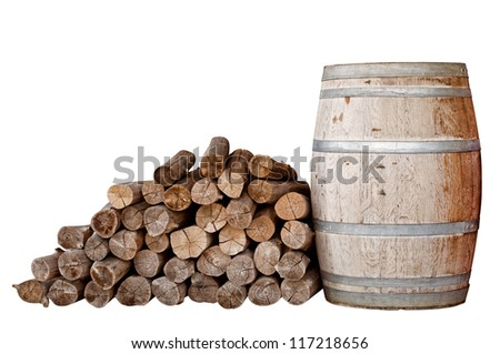 Dry firewood and wooden tank isolated