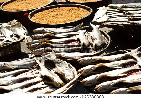 Dry fish at the sun.