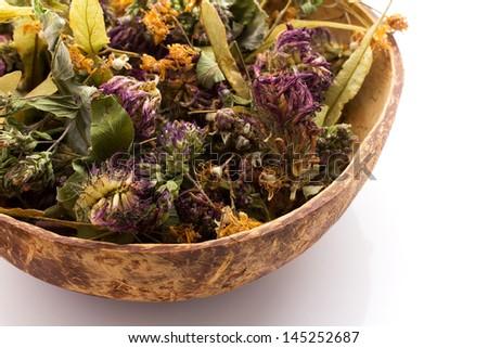 Dry flower tea coconut bowl.