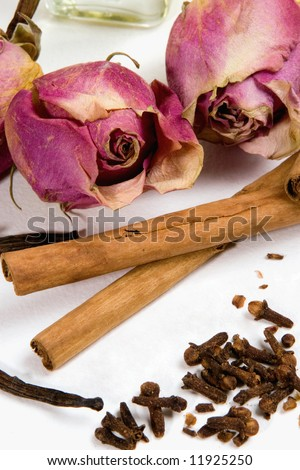 Dry flowers and spices.