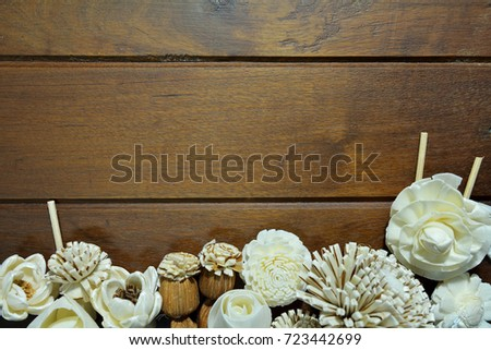 Dry flowers composition on old wooden background with copy space for your text. #723442699