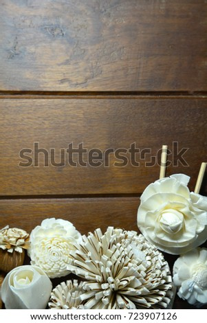 Dry flowers composition on old wooden background with copy space for your text. #723907126