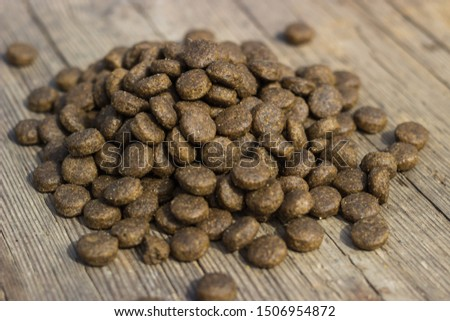 Dry food for animals in granules