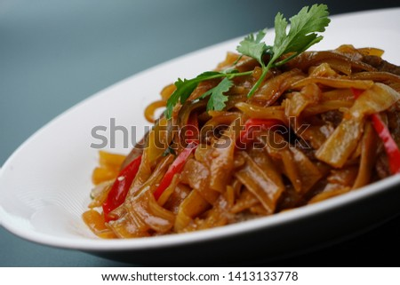 Dry fried beef river with beef