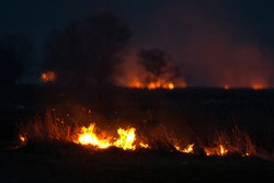 Dry grass burns at night. Pastures and meadows in the countryside. An environmental disaster involving irresponsible people. Luxurious mystical night landscapes shot on a 300mm lens.
