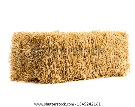 dry haystack isolated on white background #1345242161