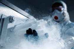 Dry ice in production ( the solid form of carbon dioxide)