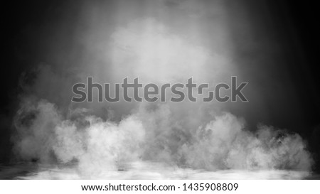 Dry ice smoke clouds fog floor texture. Perfect spotlight mist effect on isolated black background.