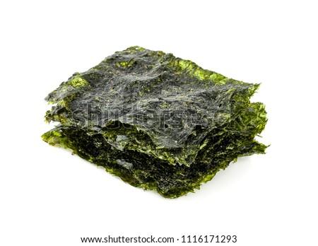 Dry japanese organic seaweed,isolated on white background.