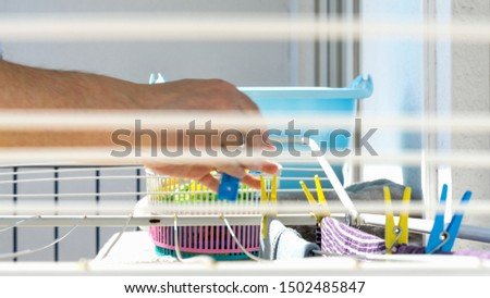 Dry laundry outside on the drying rack