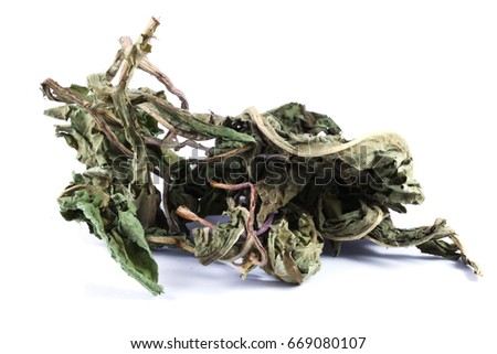 Dry leafs of common dandelion (Taraxacum officinale). All parts of the plant are slightly aperient, cholagogue, depurative, diuretic, hepatic, laxative, stomachic and tonic. #669080107