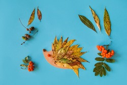dry leaves applique art autumn. little child making autumn decoration from leaves and forest berries. Children's art project. DIY concept. Step-by-step photo instruction.