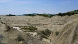 Dry mud desert in a geothermal area