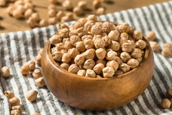 Dry Organic Chickpea Garbanzo Beans in a Bowl