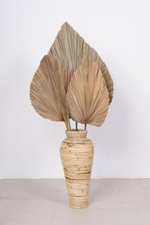 Dry palm leaf and dry pampas in small rope vase. Studio photo decoration.