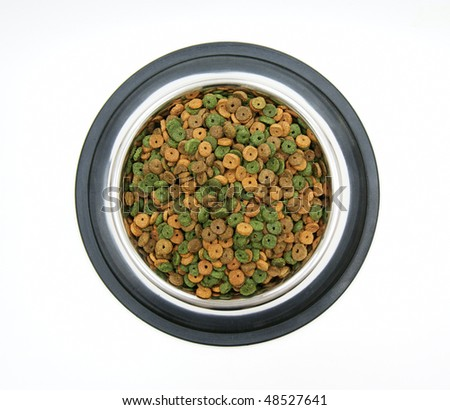 dry pet food in a metal bowl on a white background top view
