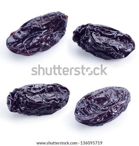 Dry plum isolated on white. damson collection