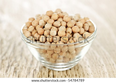 Dry raw organic chickpeas in small glass bowl