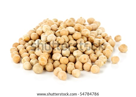 Dry raw organic chickpeas isolated on white background