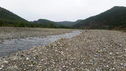 Dry River Bed in Koycegiz, Mugla, Turkey. mountain and stones view