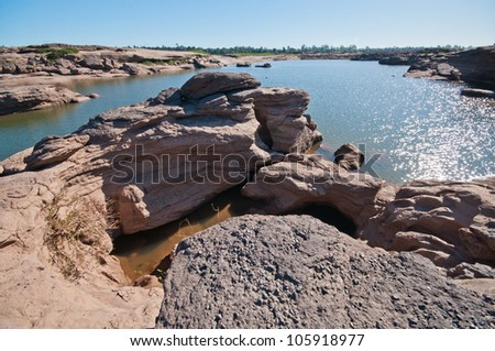 dry river Sam Pan Bok, beautiful grand canyon at Ubonratchathani province in Thailand
